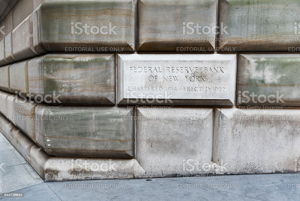 Federal Reserve Bank of New York sign and building exterior stock photo