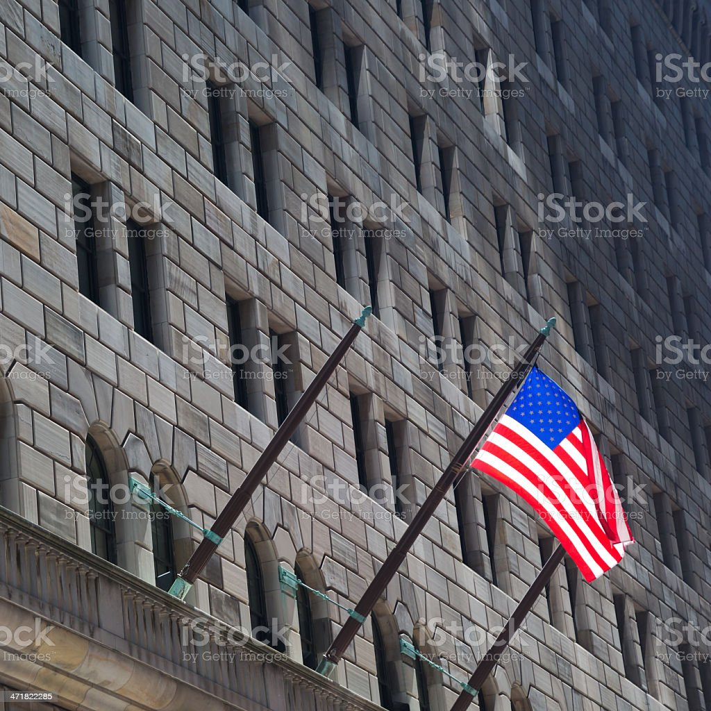 Federal Reserve building & American Flag in NY stock photo