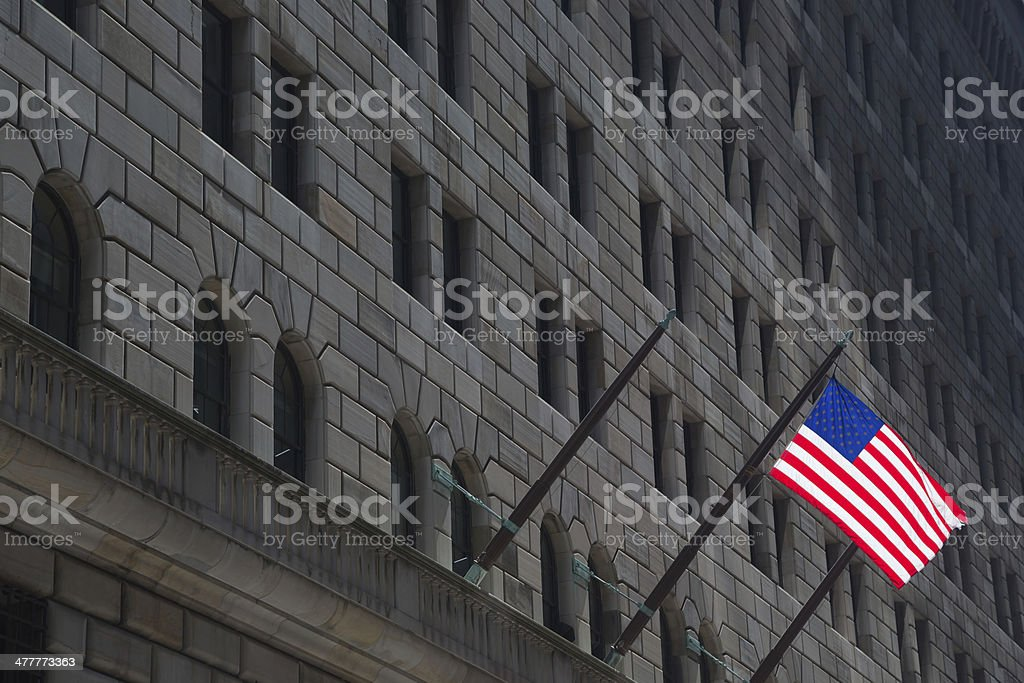 Federal Reserve building & American Flag, New York stock photo