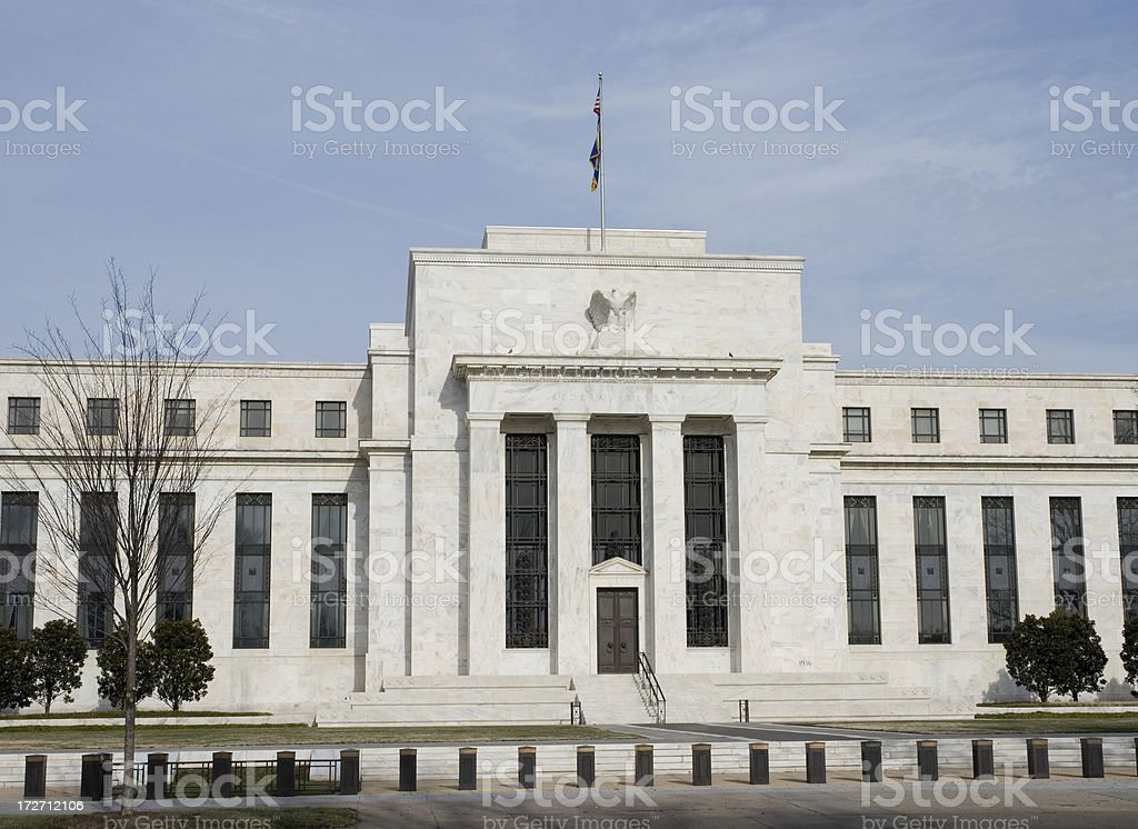 US Federal Reserve Building in winter. Washington DC stock photo