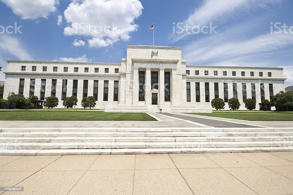Federal Reserve Building Washington DC, Wide Angle, Blue Sky stock photo