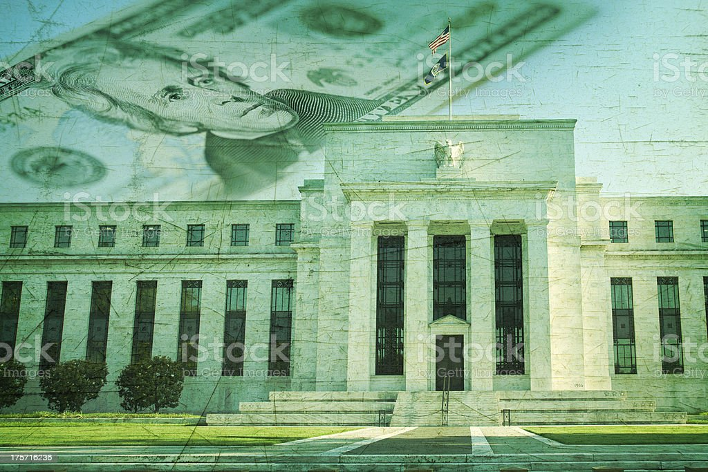 Federal Reserve building with twenty dollar bill on grunge texture stock photo