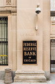 Federal Reserve sign, logo and text with La Salle street