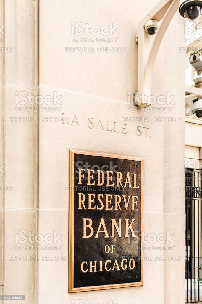Federal Reserve sign, logo and text with La Salle street stock photo