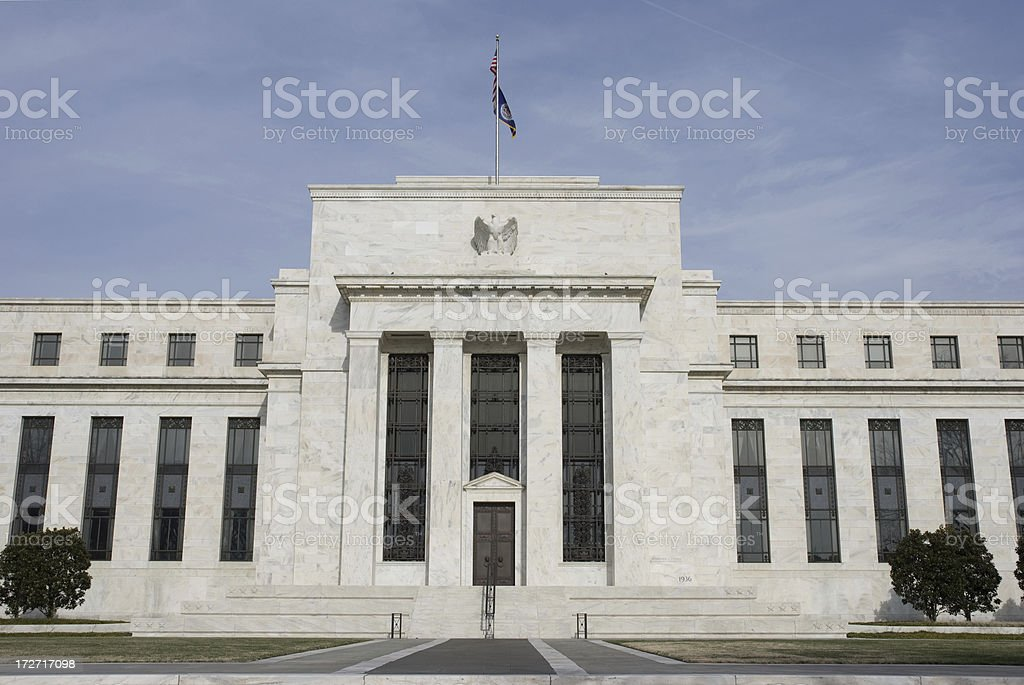 US Federal Reserve, Washington DC (in winter) stock photo