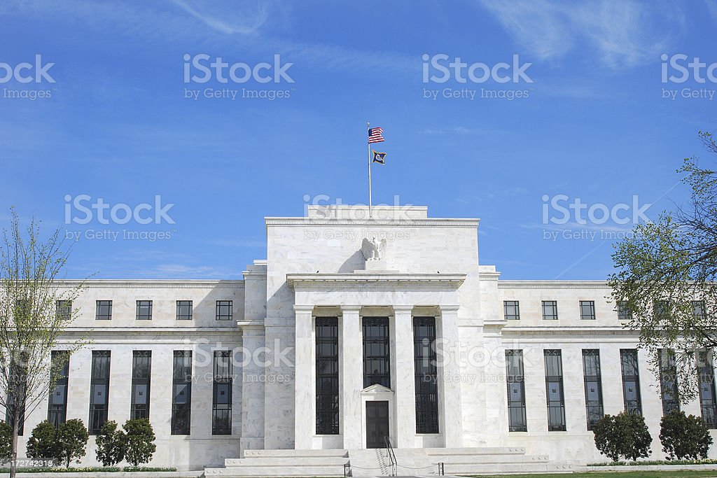 US Federal Reserve, Washington DC (in Spring) stock photo