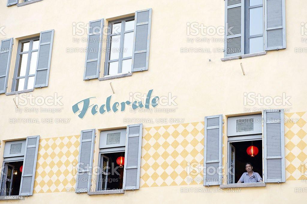 Federal restaurant in Lugano stock photo