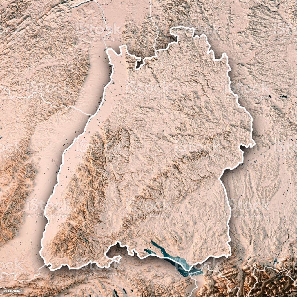 federal state of baden wrttemberg germany 3d render topographic map neutral border royalty free