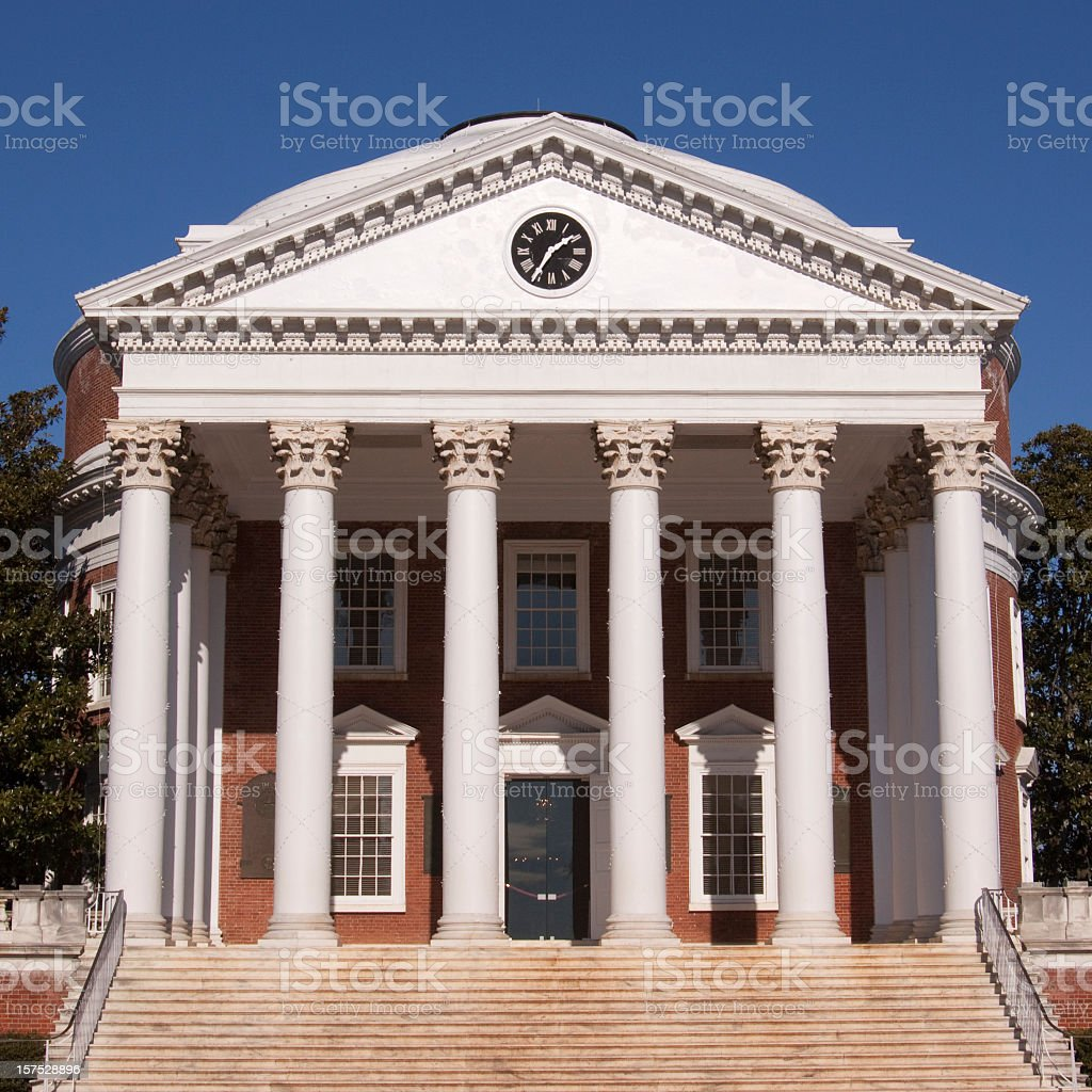 Federalist building with six white columns stock photo