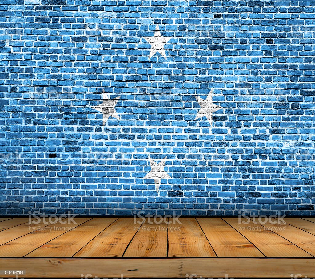 Federated States of Micronesia flag painted on brick wall stock photo