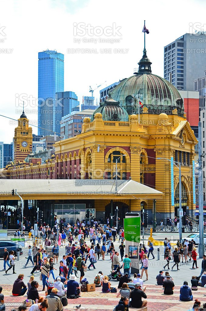 Federation Square in Melbourne city cetre stock photo