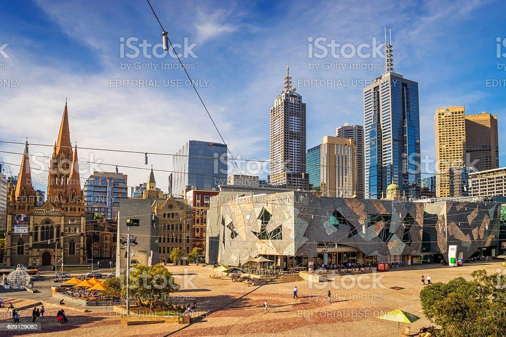Federation Square, Melbourne stock photo