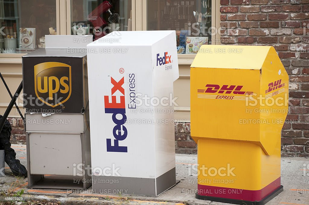 UPS, FedEx and DHL drop off boxes in Charleston, USA stock photo