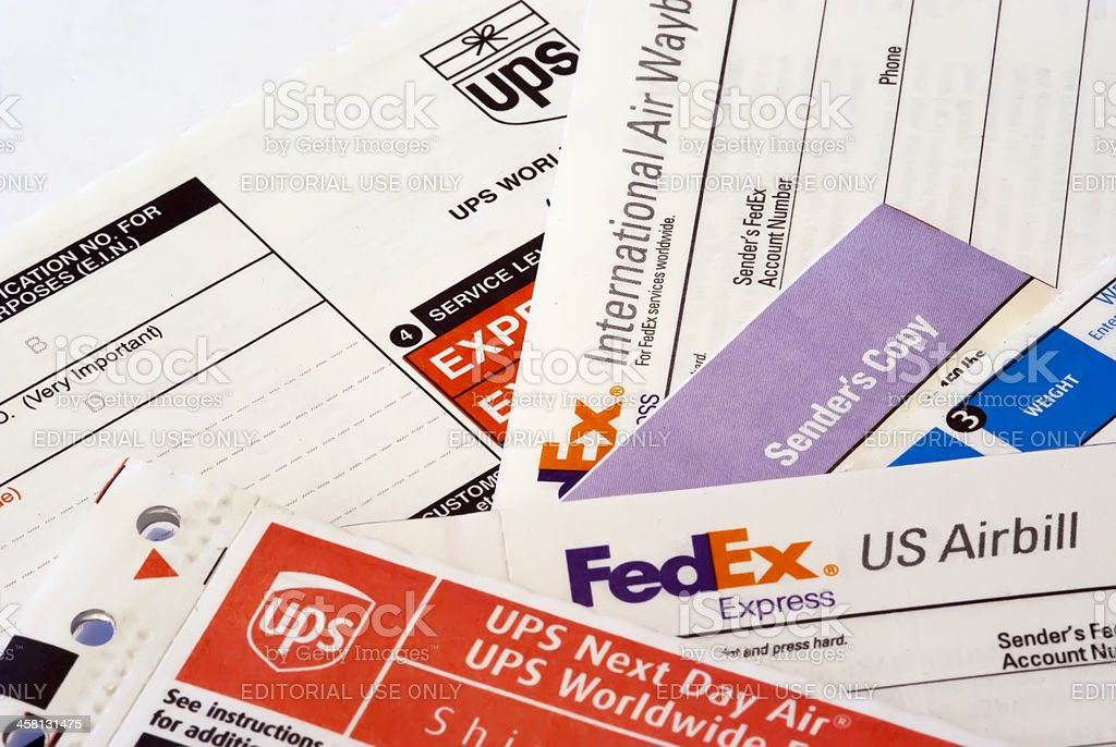 FedEx and UPS Labels stock photo