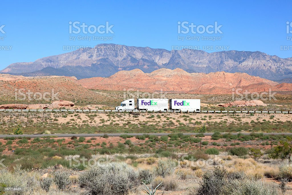 FedEx Ground Traveling The Beautiful American Landscape stock photo