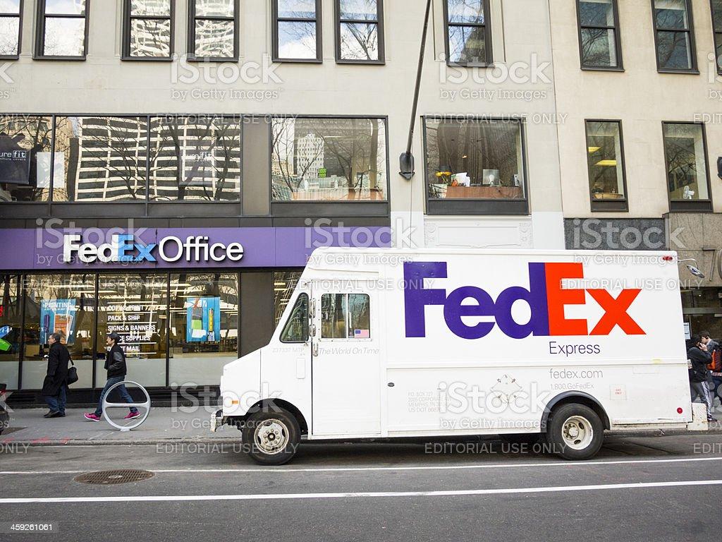 Fedex Truck and Office Store Midtown Manhattan stock photo