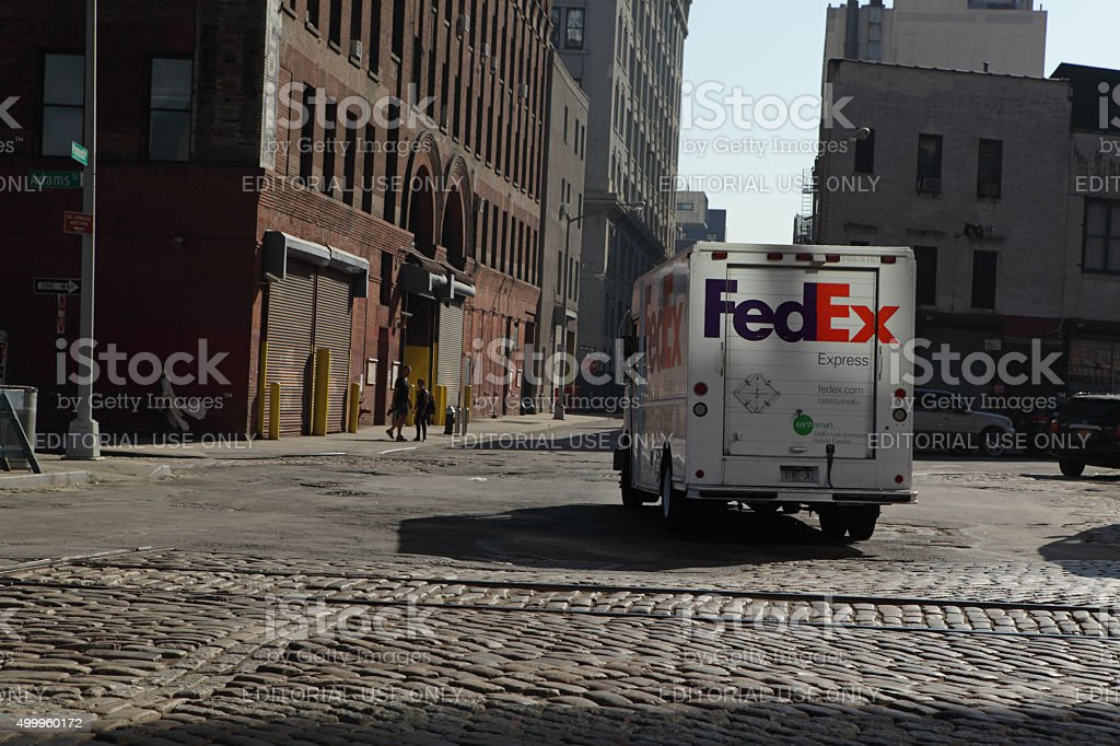 FedEx truck makes a delivery in DUMBO Brooklyn stock photo