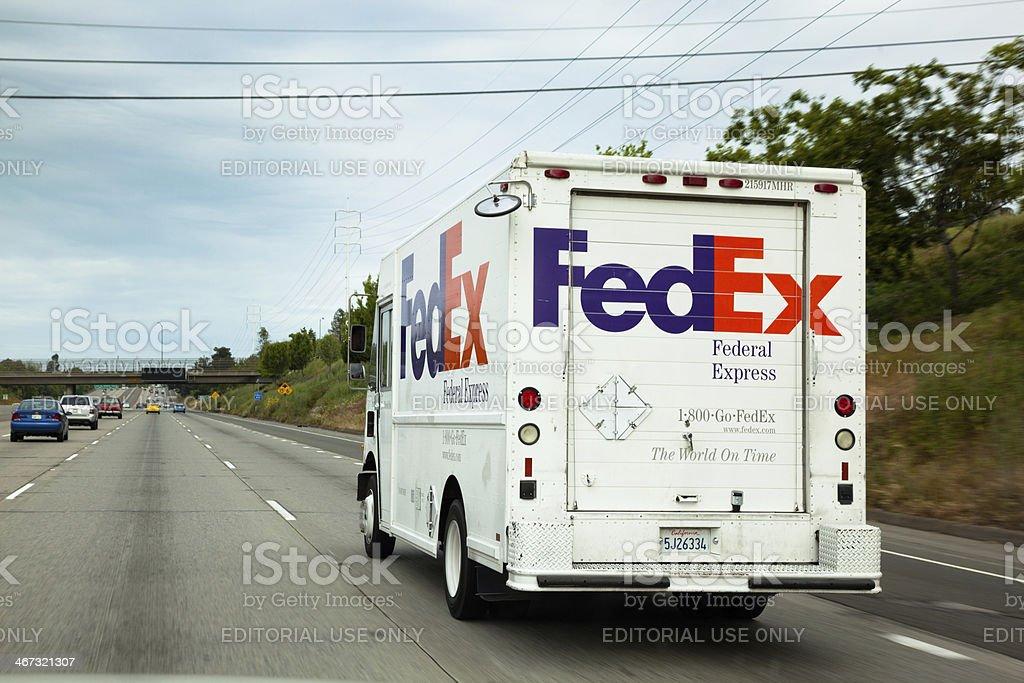 FedEx truck on a freeway in Sacramento stock photo