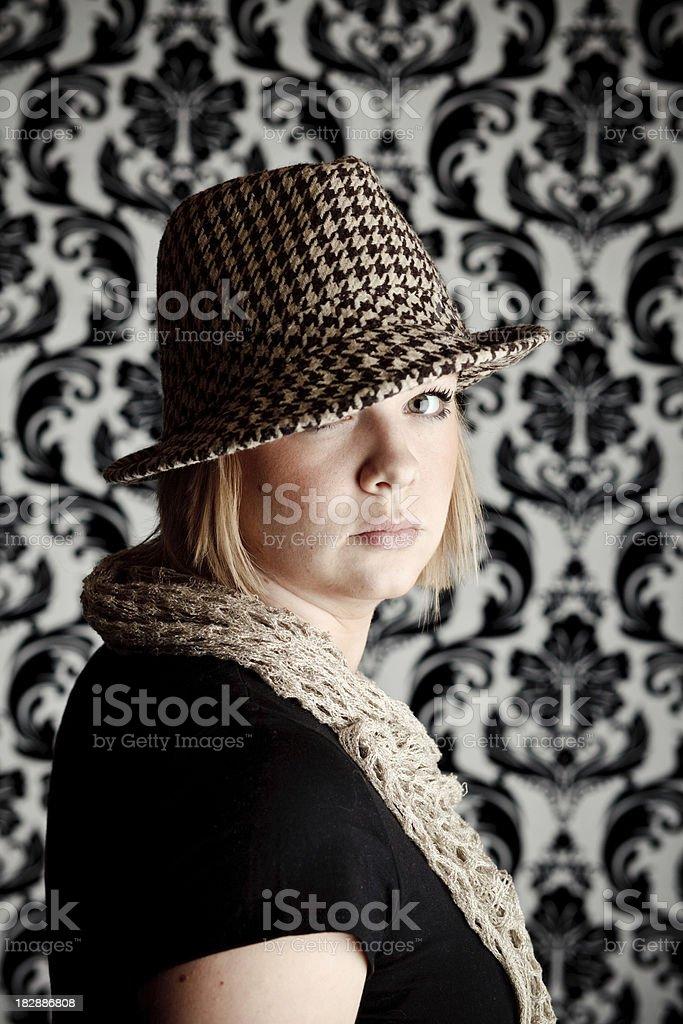 Fedora Girl royalty-free stock photo