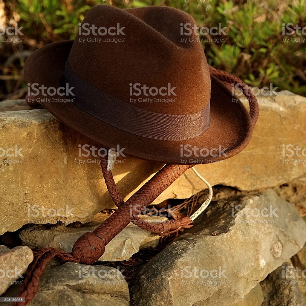 Fedora hat and bullwhip stock photo