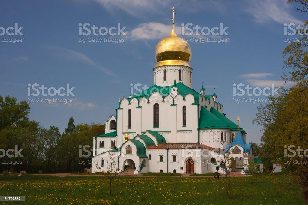 Fedorovskiy Cathedral in Pushkin, Leningrad (Saint-Petersburg) region, Russia stock photo