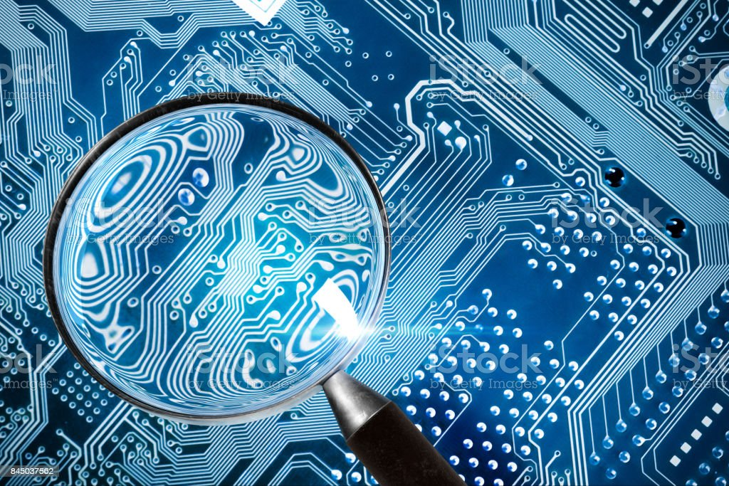 Fee Computer - computer security system and a magnifying glass stock photo