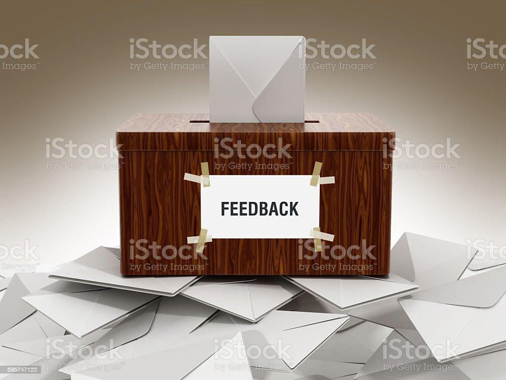 Feedback box with enveloppe stock photo