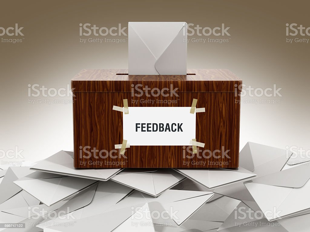 Feedback box with enveloppe stock photo