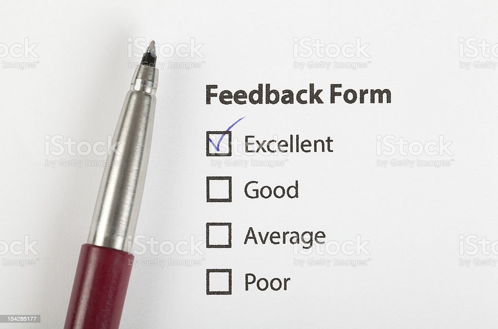 feedback form checked with excellent stock photo