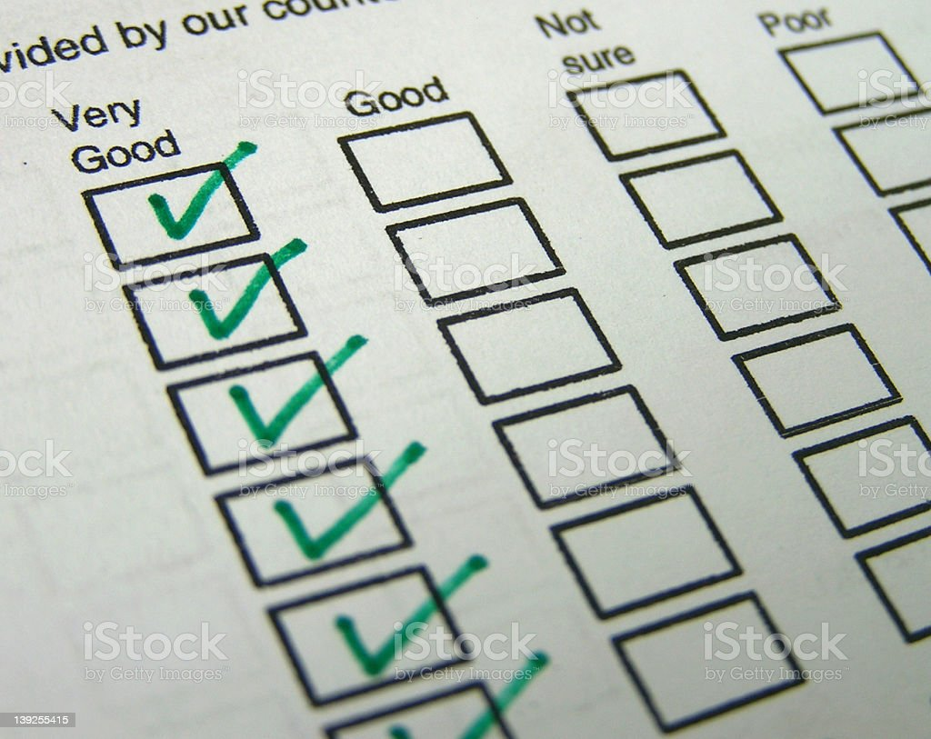 Feedback form with Very Good boxes ticked stock photo