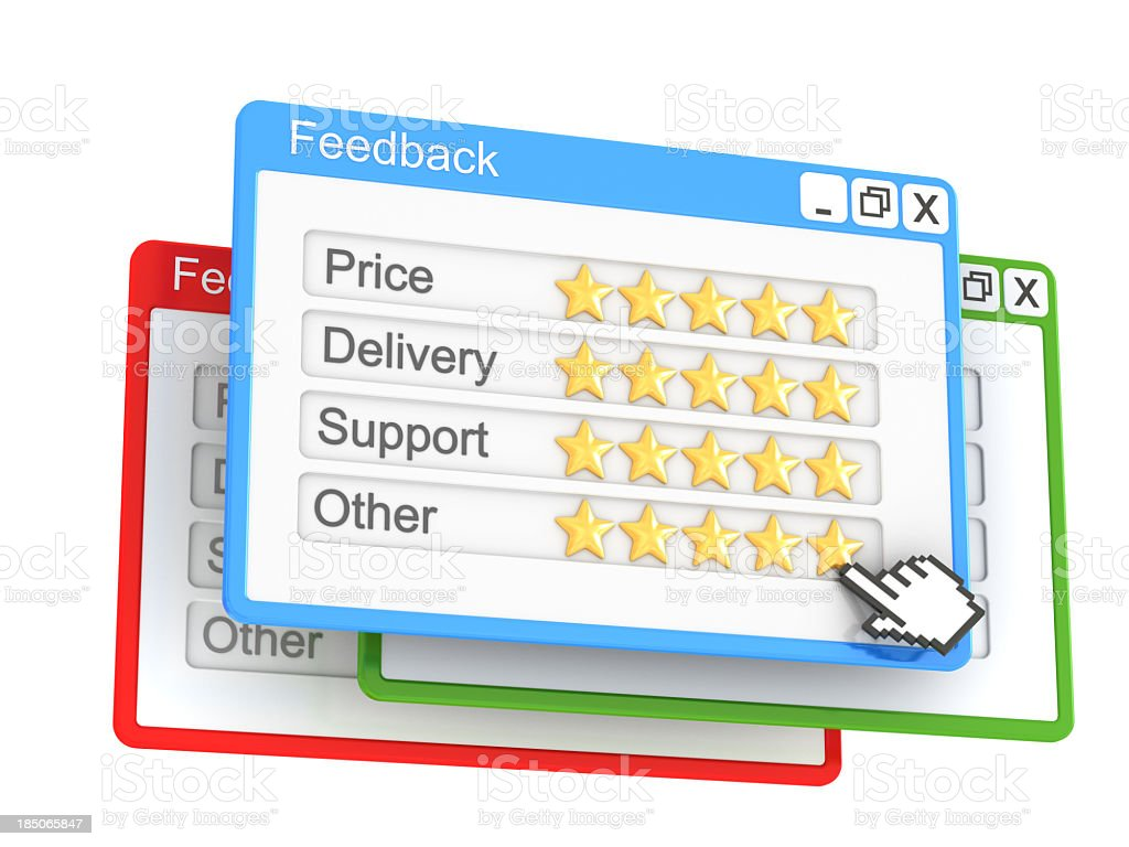 A feedback pop up on the Internet with 5 stars on each point royalty-free stock photo