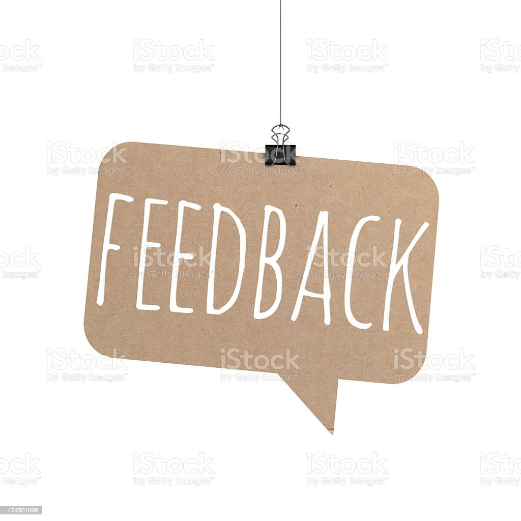 feedback speech bubble hanging on a string stock photo