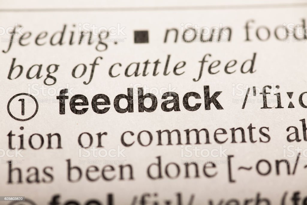 feedback - word in dictionary stock photo