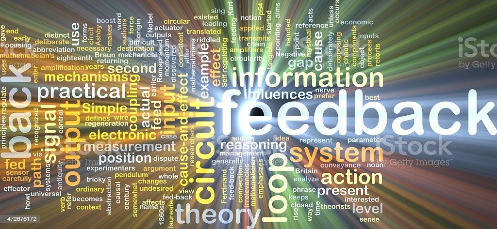 feedback wordcloud concept illustration glowing stock photo