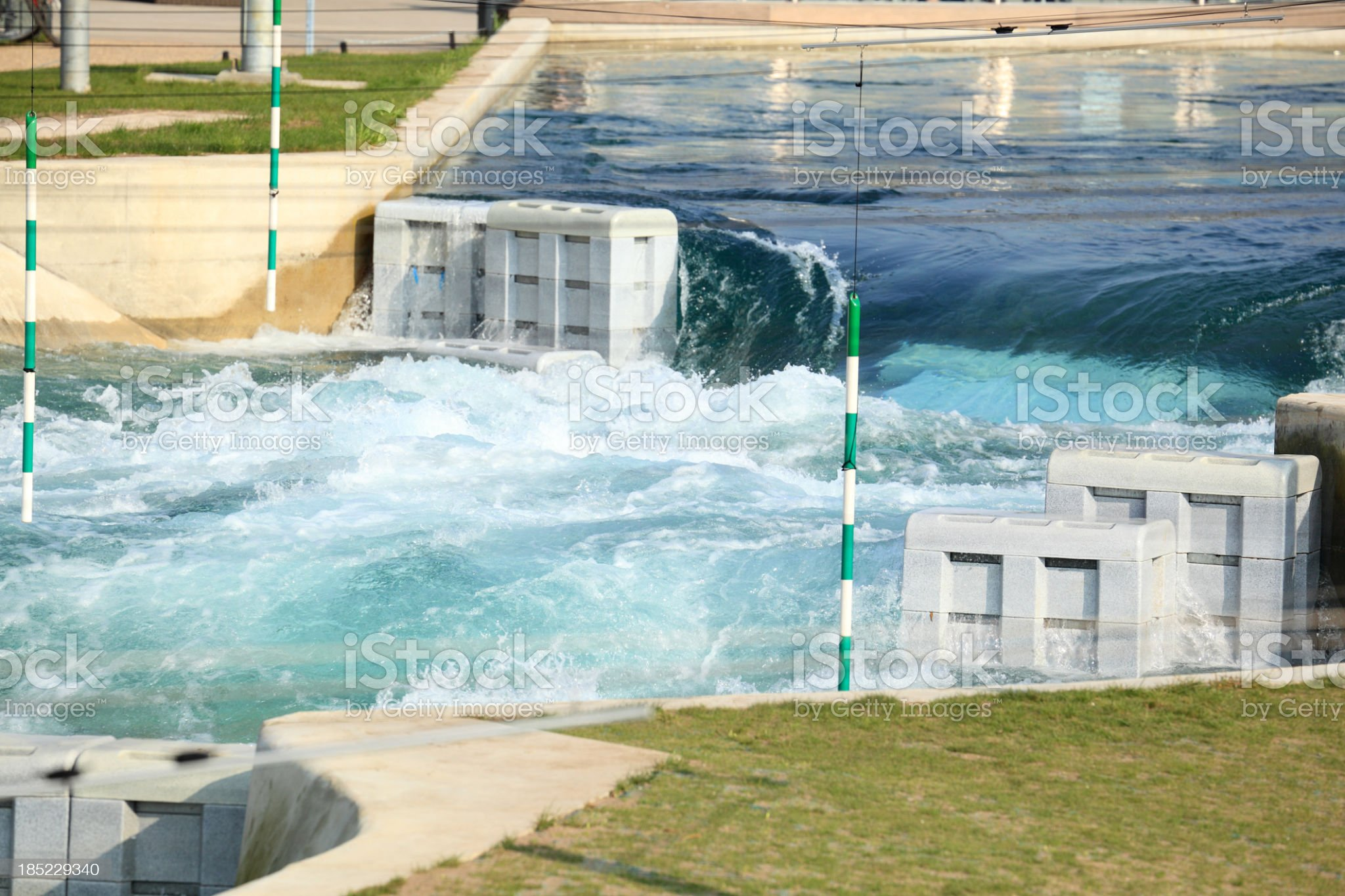 feeder pool waterfall water rafting course showing gate marker royalty-free stock photo