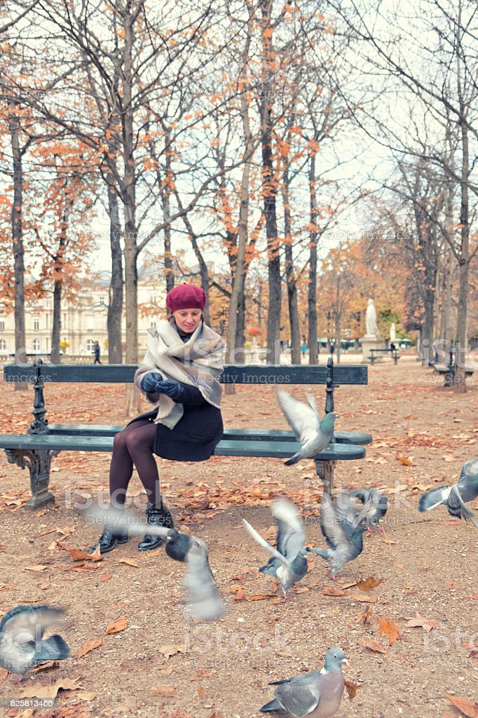 Feeding pigeons in Luxembourg Gardens stock photo