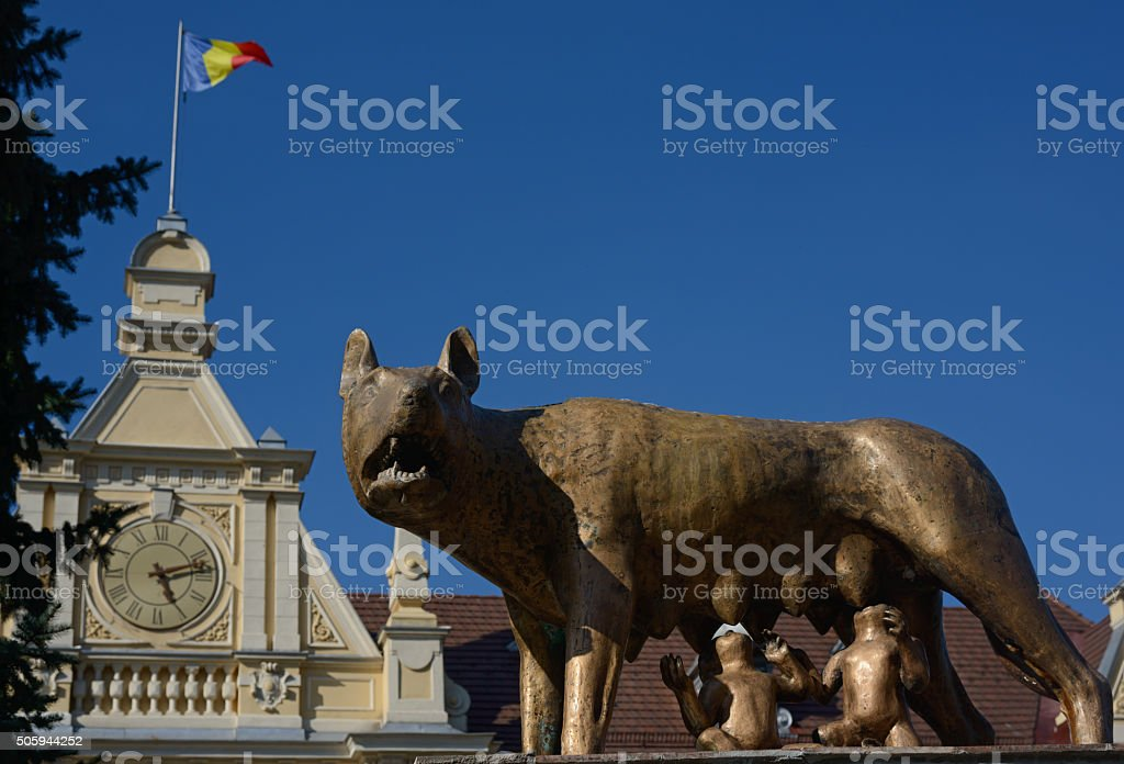 feeding she-wolf monument in Brasov stock photo