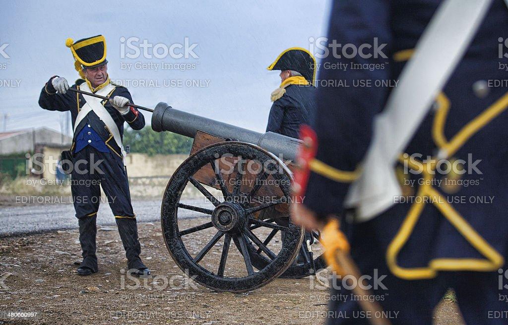 Feeding the cannon stock photo