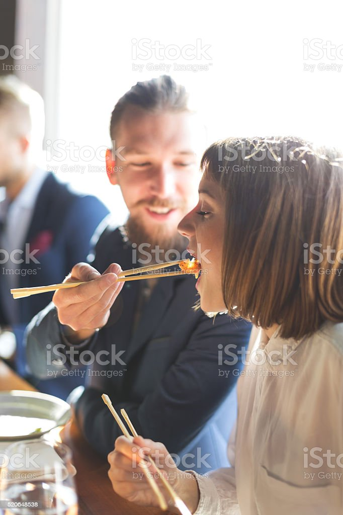 Feeding with seafood stock photo
