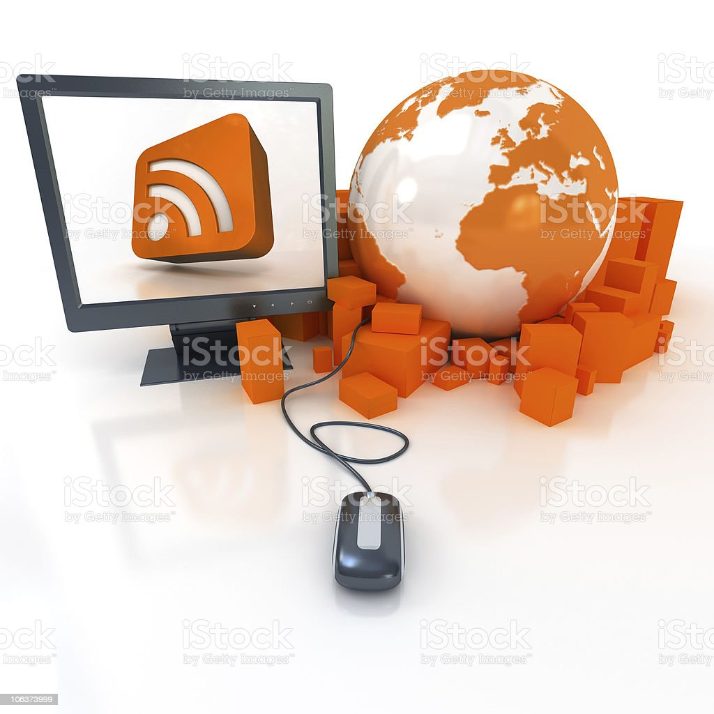 RSS feeds distribution stock photo