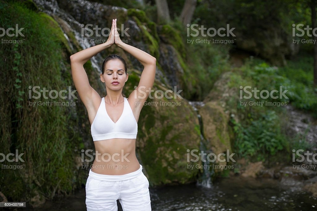 Feel the air, the earth and the water stock photo