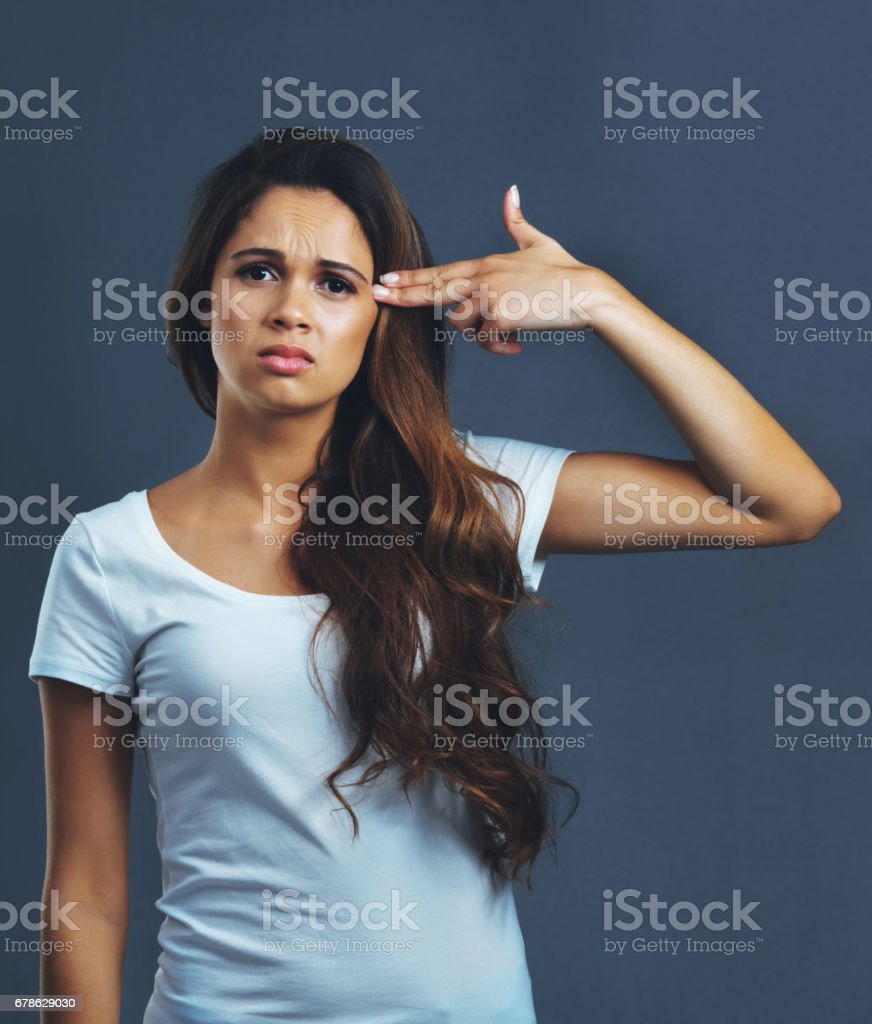 Feeling at her wits end stock photo