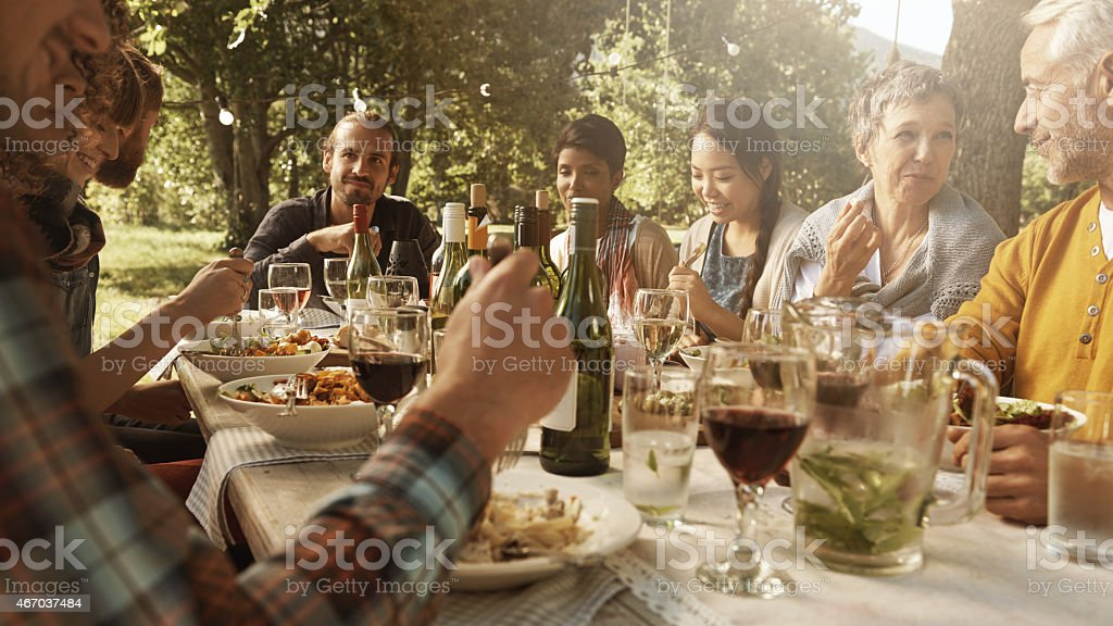 Feeling at home amongst good friends stock photo
