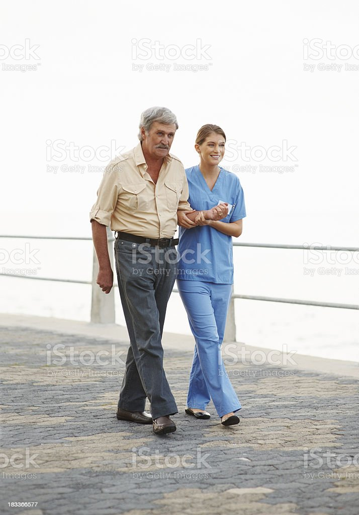 Feeling better while walking royalty-free stock photo
