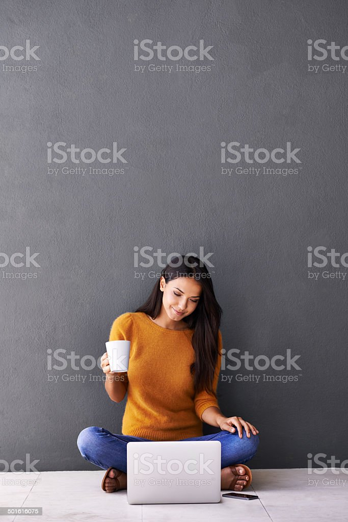 Feeling bright and perky with the help of coffee stock photo