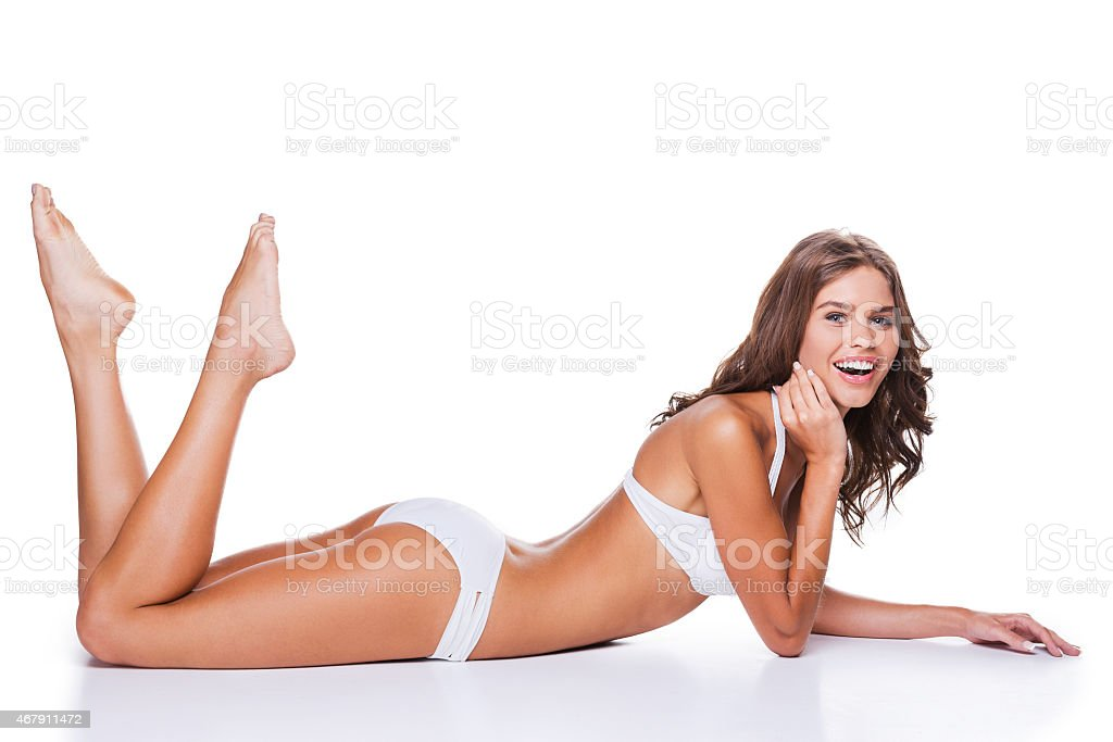 Feeling confident in her perfect body. stock photo