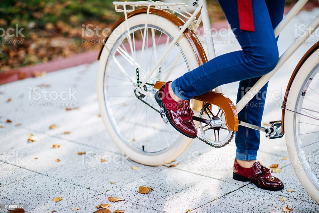 Feeling cool with my red vintage autumn shoes stock photo