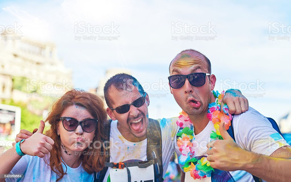 feeling crazy with my friends stock photo