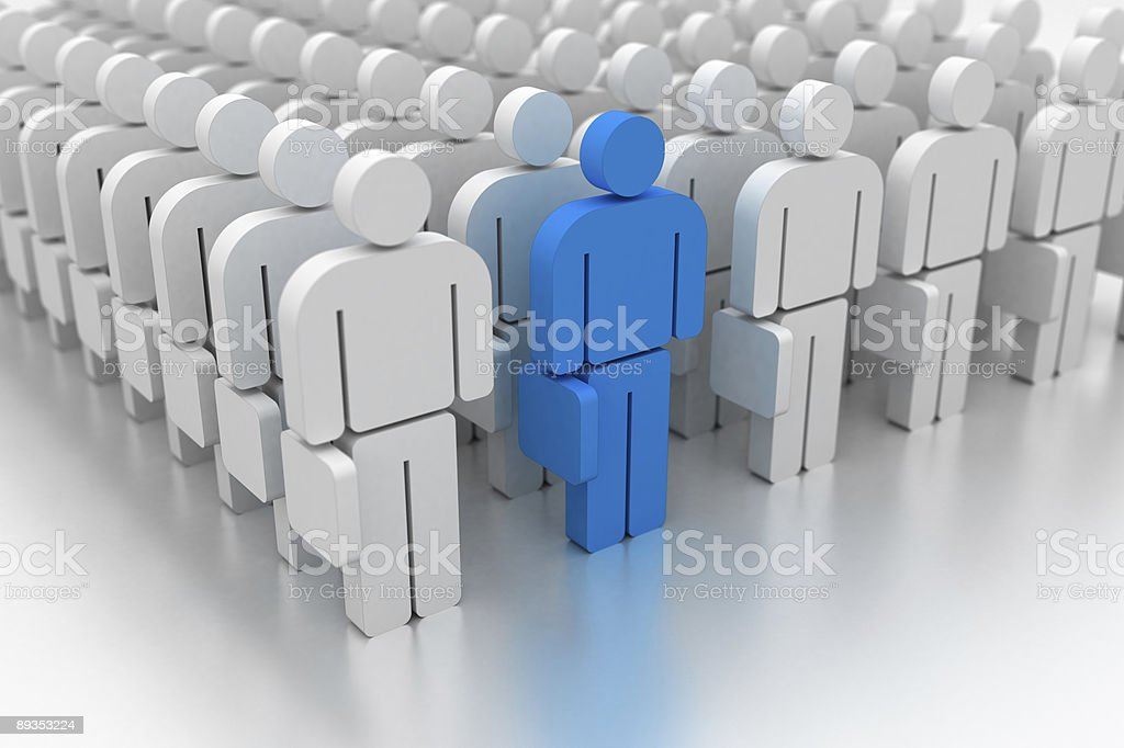 Feeling different (with a man in blue) royalty-free stock photo