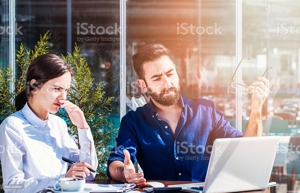 Feeling exhausted at office stock photo